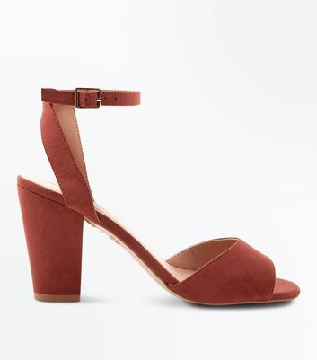 Rust Suedette Cut Out Back Block Heel Sandals New Look