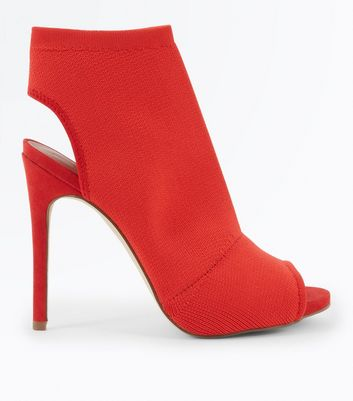 Red Ribbed Elastic Peep Toe Sock Boots