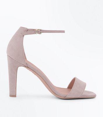 Mink Suedette Slim Block Heel Sandals New Look