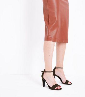 Khaki Suedette Slim Block Heel Sandals New Look