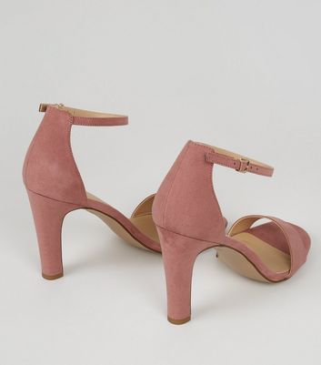 Pink Suedette Ankle Strap Heeled Sandals New Look