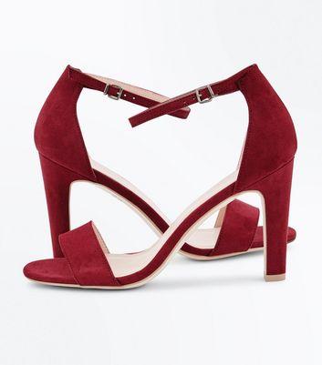 Deep Pink Suedette Slim Block Heel Sandals New Look