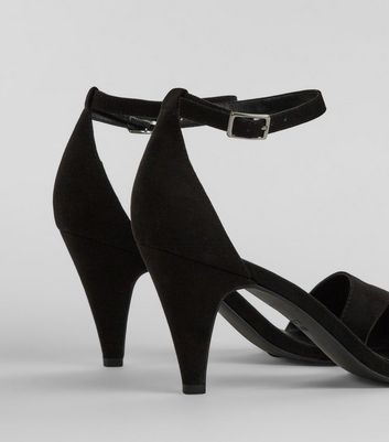 Black Suedette Cone Heel Sandals New Look