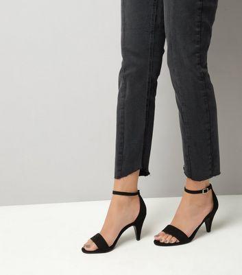 black-suedette-cone-heel-sandals