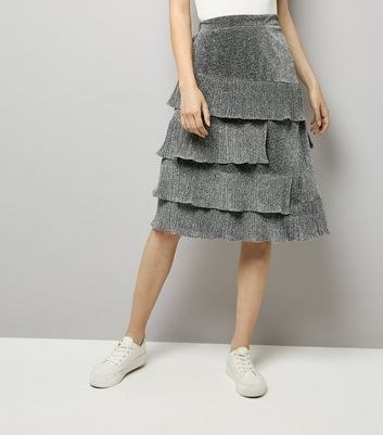 Silver Glitter Tiered Midi Skirt New Look