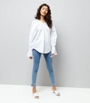 White Ring Back Bell Sleeve Shirt New Look