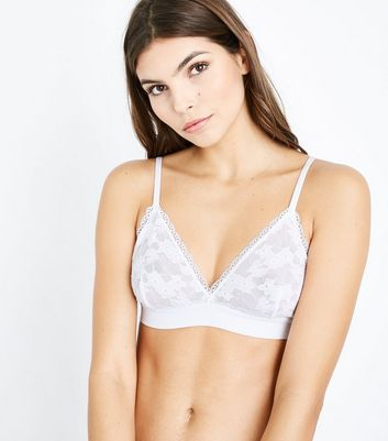 White Lace Trim Bralet New Look