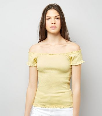 Soft Yellow Bardot Neck Frill Trim Top New Look