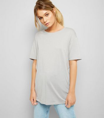 Grey Corset Back Longline T-Shirt New Look