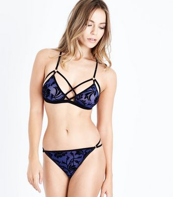 Navy Flocked Floral Print Bralet New Look