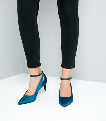 Blue Satin Cut Out Kitten Heel Shoes New Look
