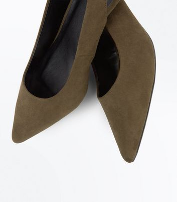 Khaki Suedette Sling Back Cone Heel Courts New Look