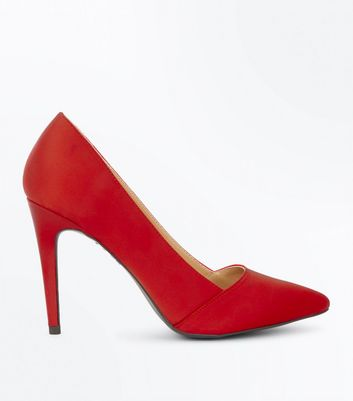 Red Satin Pointed Court Shoes New Look