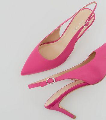 Pink Satin Sling Back Kitten Heels New Look