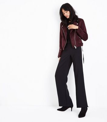 Burgundy Suedette Biker Jacket New Look