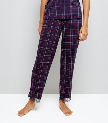 Petite Purple Check Lace Trim Pyjama Bottoms New Look