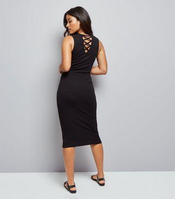 Maternity Black Lattice Back Bodycon Midi Dress New Look
