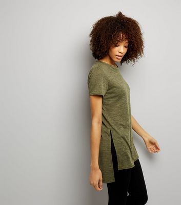 Khaki Split Side Longline T-Shirt New Look