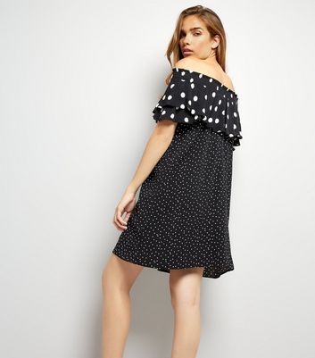 Black Spot Print Frill Trim Bardot Neck Dress New Look