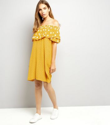 Yellow Contrast Polka Dot Bardot Neck Dress New Look