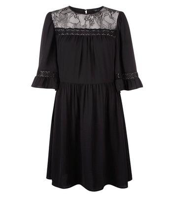 Black Lace Neck Smock Dress New Look