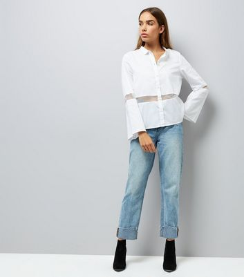 Noisy May White Sheer Panel Shirt New Look