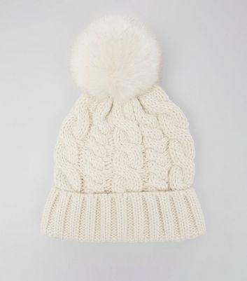 Cream Faux Fur Pom Pom Bobble Hat New Look