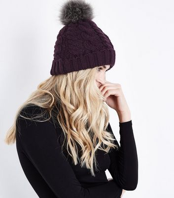 Purple Faux Fur Pom Pom Bobble Hat New Look