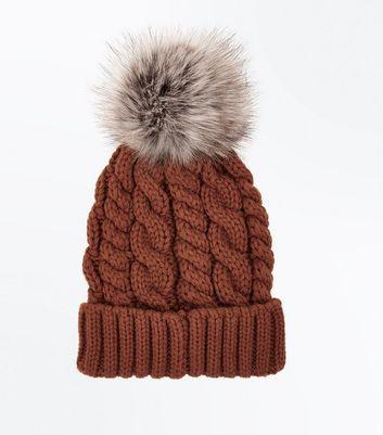Orange Faux Fur Pom Pom Bobble Hat New Look