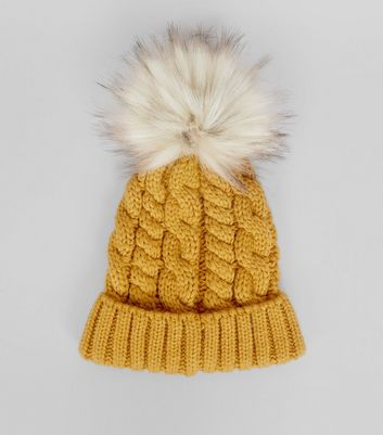 Yellow Faux Fur Pom Pom Bobble Hat New Look