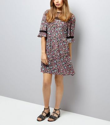 Black Floral Print Lace Neck Smock Dress New Look