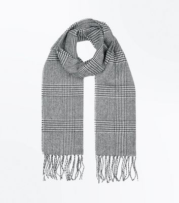 Black Houndstooth Check Scarf New Look