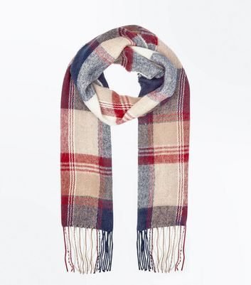 Red Check Fringed Scarf New Look