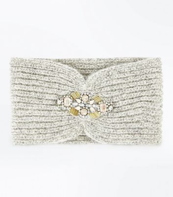 Grey Embellished Front Headband New Look