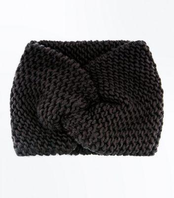 Black Knit Twist Front Headband New Look