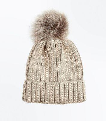 Mink Diamante Embellished Bobble Hat New Look