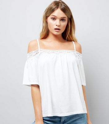 White Crochet Trim Cold Shoulder Top New Look