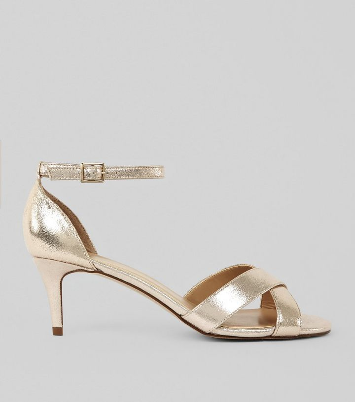 c5c0e961526b9 Gold Metallic Kitten Heel Cross Strap Sandals   New Look