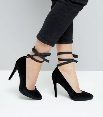 Black Velvet Tie Up Court Heels New Look