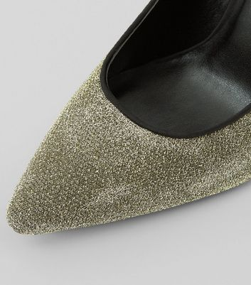 Gold Glitter Pointed Court Heels New Look