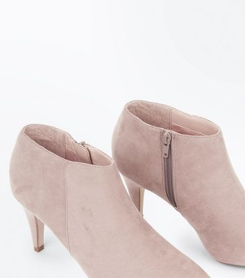 Light Brown Suedette Cone Heel Shoe Boots New Look