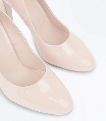 Nude Patent Block Heel Court Shoes New Look