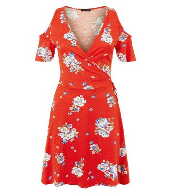 Red Floral Print Wrap Front Cold Shoulder Dress New Look
