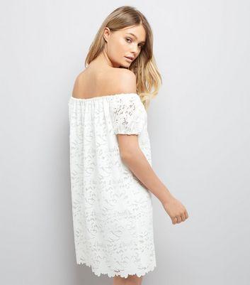 Cream Lace Bardot Mini Dress New Look