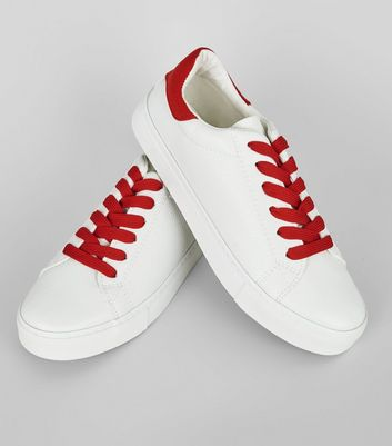 Red Contrast Lace Up Trainers New Look