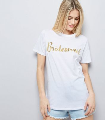 White Metallic Bridesmaid Front T-Shirt New Look