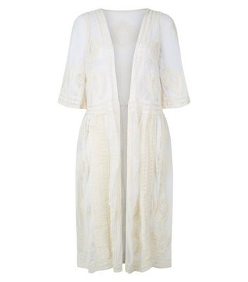 Cream Crochet Mesh Longline Kimono New Look