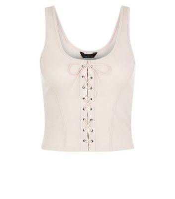 Pink Lace Up Ribbed Vest New Look