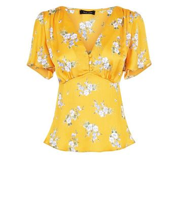 Yellow Floral Print Satin V Neck Top New Look