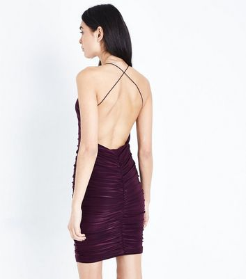 AX Paris Dark Purple Ruched Backless Dress New Look